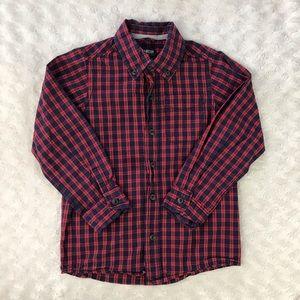 Oshkosh B'Gosh Plaid Button Down Shirt Size 6 Red